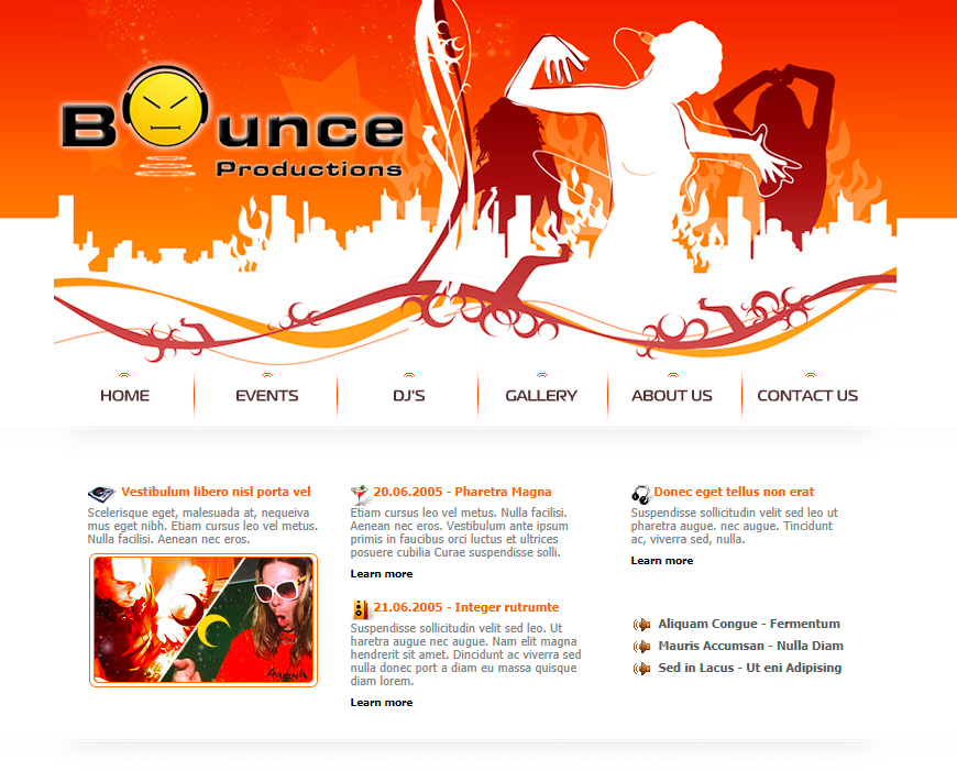 Bounce Productions - Dynamic Website